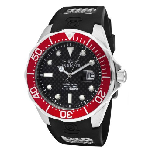 Invicta Men's 12561 Pro Diver Black Carbon Fiber Dial Black Polyurethane Watch - Invicta Bezel