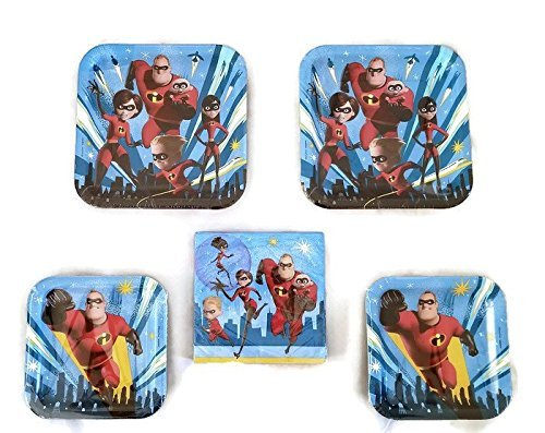 Designware Disney Incredibles 2 Party Bundle 9'' Plates (16) 7'' Plates (16) Napkins (16)
