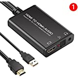 4K HDMI Audio Extractor, Onvian HDMI to HDMI and Optical TOSLINK SPDIF + 3.5mm Stereo Audio Extractor Splitter HDCP 1.4 DAC Digital to Analog Stereo Audio Extractor