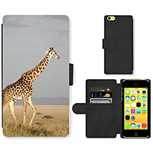Super Stella Cell Phone Card Slot PU Leather Wallet Case // M00145946 Giraffe Tall Mammal Africa // Apple iPhone 5C