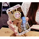 CJW Crystal Rhinestone Mirror Glass Case Bling Diamond Soft Makeup Case for Samsung Galaxy S6 7 8 iPhone 5 6 7 with 360 Degree Ring Stand (Galaxy S8 Case, Gold)