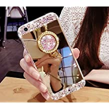 CJW Crystal Rhinestone Mirror Glass Case Bling Diamond Soft Makeup Case for Samsung Galaxy S6 7 8 iPhone 5 6 7 with 360 Degree Ring Stand