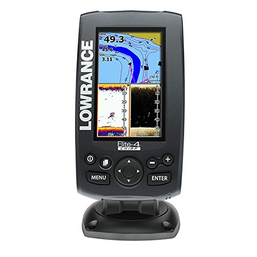 Lowrance 000-11808-001 Elite-4 Fishfinder/Chartplotter with US Basemap, 83/200KHz CHIRP and 455/800KHz DownScan Transducer