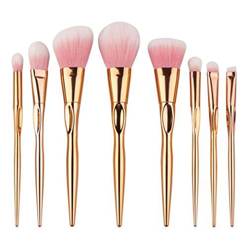 Gotd Heart Shape 8PCS Make Up Foundation Eyebrow Eyeliner Blush Cosmetic Concealer Brushes (Rose Gold)