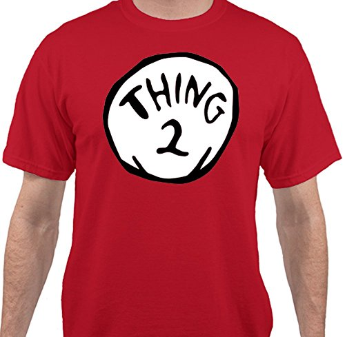 Sweet Tees Trade; Thing 2 Dr. Seuss Funny Cat in The Hat Halloween Costume T-Shirt - Red - XLarge -