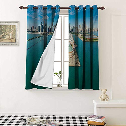 shenglv Chicago Skyline Waterproof Window Curtain Aerial Panorama of Navy Pier Marine Metropolis Big City Silhouette View Curtains for Party Decoration W84 x L72 Inch Multicolor -