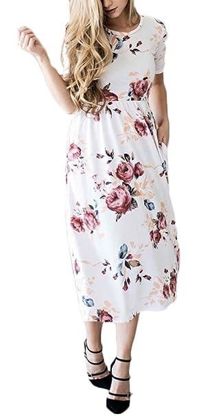 Adelina Vestidos Mujer Verano Fashion Vintage Floreadas Manga Corta Cuello Redondo Cintura Alta Vestido Midi Vestido