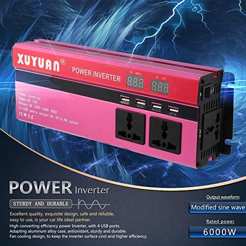 KNOSSOS 6000W Solar Power Inverter DC 12V to AC 220V LED Display Sine Wave Converter
