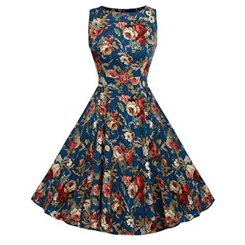 Rakkiss Women Vintage Skirt Boho Printed Spring Hepburn Skirt Cocktail Slim Summer Dress Elegant Long Maxi Dress Blue