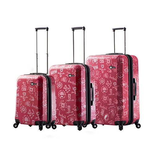 Mia Toro Love This Life-Medallions Hardside Spinner 3 Piece Luggage Set, Red (Medallion Mia)