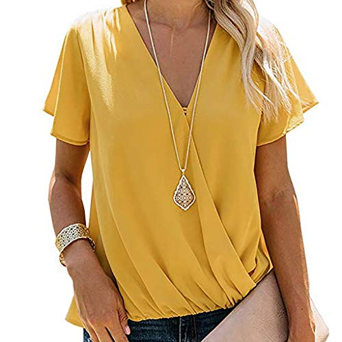 - FORUU Women's Tops, Ladies Sexy Short Sleeve V-Neck Wrinkle Shirt Solid Pullover Blouses Fashion 2019 Office Elegant Summer Business Work Casual Under 5 10 15 Dollars Sexy