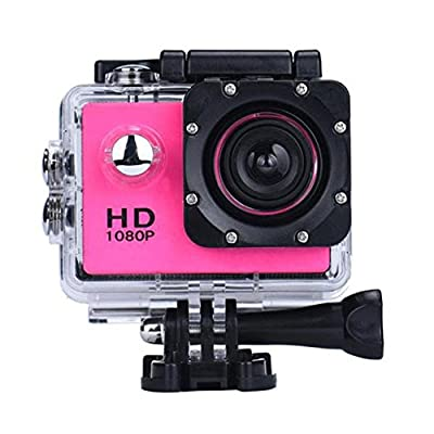 DanCoTech Action Camera with Waterproof casing 1080P FHD Sports DV Recording (Rosy)