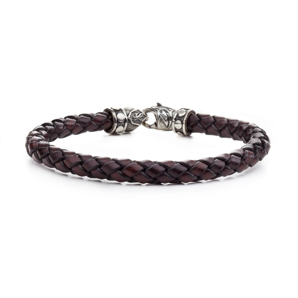 Scott Kay 6MM Brown Woven Leather Bracelet with Sterling Riveted Clasp