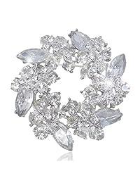 Ever Faith Austrian Crystal Wreath Brooch