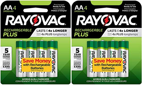 (8 Rayovac AA Recharge PLUS High-Capacity Rechargeable 2400 mAh NiMH Pre-Charged Batteries, (2 x 4 packs) + Holders)