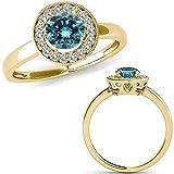 1 Carat Blue Diamond Beautiful Lovely Halo Basket Engagement Anniversary Bridal Set Ring 14K Yellow Gold
