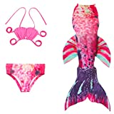 ViewHuge Princess Girls Sparkle Mermaid Tail Swimmable Swimsuit,3PCS Sets (No monofin)