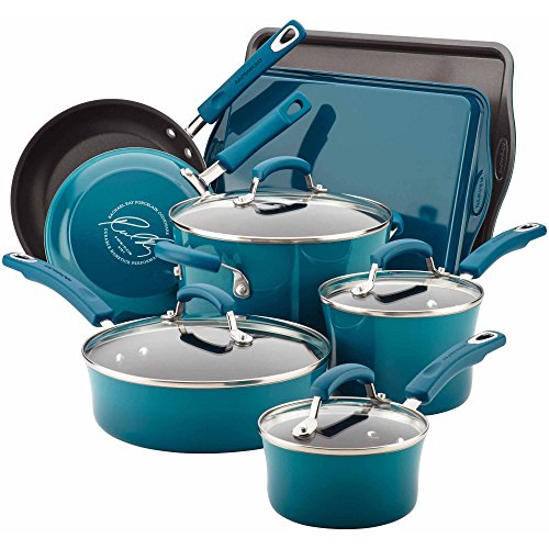 Rachael Ray Hard Enamel Nonstick 12-Piece Cookware Set (Marine Blue)