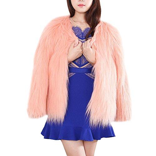 Del Corto Elegante Invierno Pelo Rosa Sintética Mujeres Parka De Abrigo La Piel Outwear Capa Chaqueta tw7nx0q