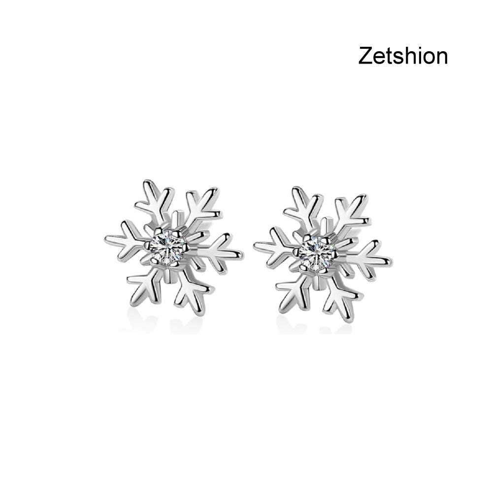 Zetshion Snowflake Flower Stud Earrings CZ Christmas for Women Girls