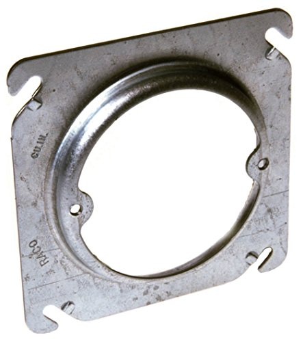 Hubbell 759 Raco Raised Square Plaster Ring Cover, 3/4 in L W X 4 in D, Gray, Steel