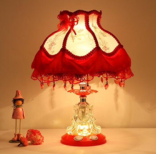(Best to Buy Tiffany Style Dimmable Child Table Lamp Victorian Jeweled Desk Lamp Floral Cloth Art+Resin (Red))