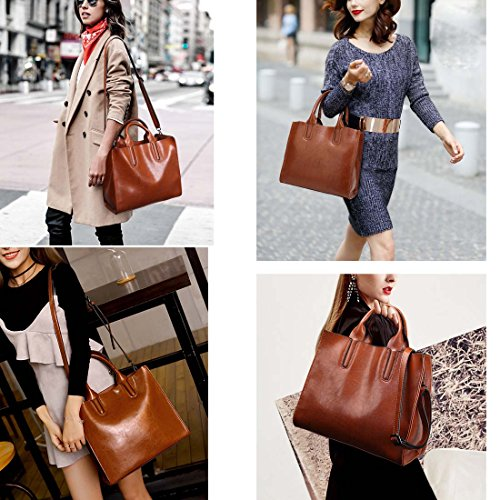 Bags Black Women's Bag PU Leather Tote Handle Handbag Top Oversized Cross Blue Body Bag 3 Sections Shoulder R6qfxBfA