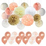 Wedding Party Decorations - Peach Ivory Champagne White Paper Pompoms Decorations for Baby Shower BacheloretteParty Supplies