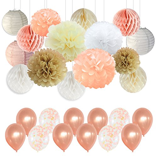 Wedding Party Decorations - Peach Ivory Champagne White Paper Pompoms Decorations for Baby Shower Bachelorette Party Supplies ()