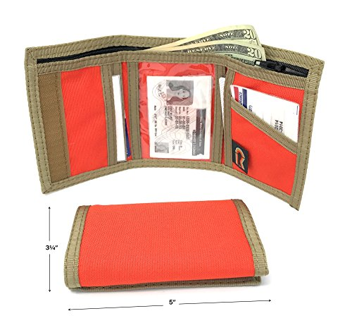 RFID Nylon Trifold Hook and Loop Wallet. w/Inside ID Window. Made in USA (Bright Orange with Coyote Brown Trim)