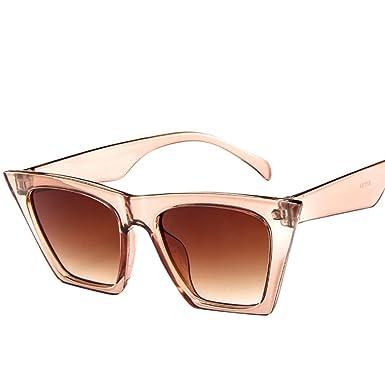 c917ae24af333 Femmes Plastique Carre Lunettes de Soleil Couleur Lunettes de Design pour  Vacance (Beige)  Amazon.fr  Vêtements et accessoires