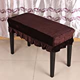 Andoer Piano Stool Chair Bench Cover Pleuche Decorated with Macrame 75 * 35cm for Piano Dual Seat Bench Universal Coffee