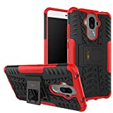 Heartly Huawei Mate 9 Back Cover Kick Stand Rugged Shockproof Tough Hybrid Armor Dual Layer Bumper Case - Hot Red