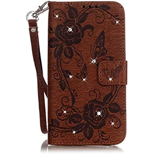 Samsung S7 Case, Haoshi Embossing Butterrfly Partern Wallet Leather Case with Card Slots, Kickstand and Hand Straps Shockproof Drop Resistence Sales