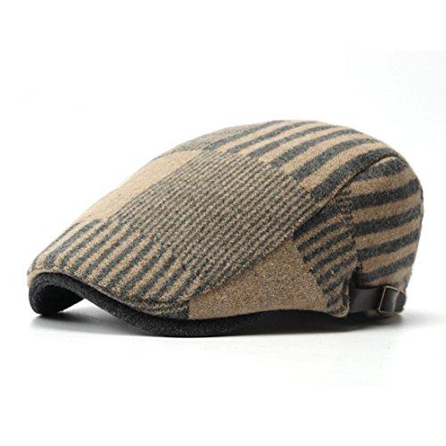 Pigment Dyed Newsboy Cap - WAZZIT Wool Blend Newsboy Cap Stripe Flat Cap Ivy Irish Cabbie Caps Driver Beret Hats - Khaki