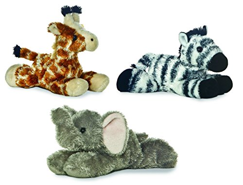 Bundle of 3 Aurora Plush Jungle Animals - Elephant, Giraffe,