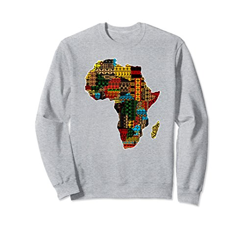 Unisex African traditional ethnic pattern Africa map sweatshirt Small Heather Grey