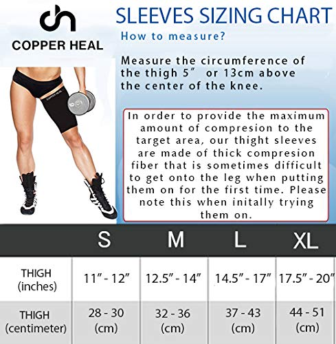 Amazon.com: Thigh Compression Recovery Sleeve by COPPER HEAL - Recover from Sore Pulled Hamstring and Groin Strain Pain Sprains Tendinitis Injury Quadriceps ...