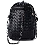 Small Cell Phone Purse Crossbody Bag Leather Shoulder Bag for Women (Black)