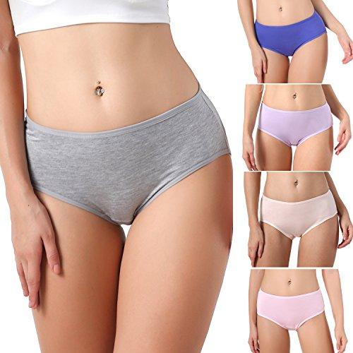 TEERFU 5Pack Womens Bamboo Brief Soft Underwear Breathable Panties (Bamboo Panties)
