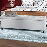 Upholstered Tufted Storage Ottoman with Lift Top - Accent Bedroom Bench with Button Polyester Upholstery (Light Gray)