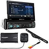 SOUNDSTREAM VR-75XB CAR 1DIN DVD CD Bluetooth Stereo W/Motorized 7' Touchscreen SiriusXM Satellite Radio Vehicle Tuner Kit SXV300v1 and Backup Camera