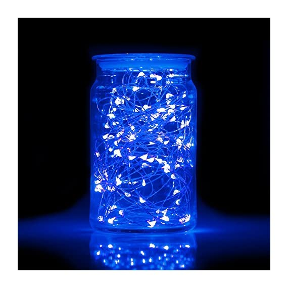 "ITART Blue Led Lights Plug in Outdoor Fairy String Lights UL Waterproof 33Ft 100 LED Thin Wire with Power Adapter for Patio Camping Christmas Wedding Party Garden Bedroom Decoration - ITART LED String Lights plug in creates a fairy, magical and twinkling lighting experience that is ideal for Christmas decorations, perfect for hanging them from branches or wrapped around trees, wreaths, and garlands. Celebrate Christmas, New Year, Birthdays and special occasions, cast a magical look to your house and garden, and impress your family friends. Safer Design. The silver wire string lights are IP44 water-resistant and work well even in rainy days,better using for garden( the power adapter is not waterproof). And UL certification 12V low voltage power adapter ensure a safety use. 100 Super Bright LEDs Lights on 33Ft Long Ultra Thin Wire with 4"" Distance Between LED Bulbs and 59"" black cable between wire and adapter. Waterproof. Ultra Thin, bendable but sturdy wire with LED lights is totally submersible with UL listed waterproof adapter.The lights without switches. - patio, outdoor-lights, outdoor-decor - 5128kN0pMPL. SS570  -"