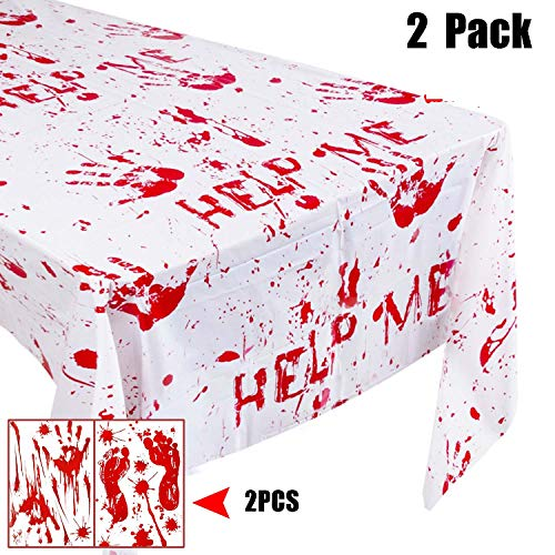 Halloween Tablecloth Party Decoration Kit, 2 Pack Bloody Handprints Splatter Disposable Plastic Table Cover, Handprint Footprint Clings, Birthday Gifts Zombie Walking Dead Dinner Party Buffet Décor