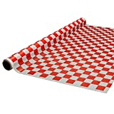 Party Essentials 4015RW Heavy Duty Printed Plastic Banquet Table Roll, 40-Inch by 150-Feet, White/Red