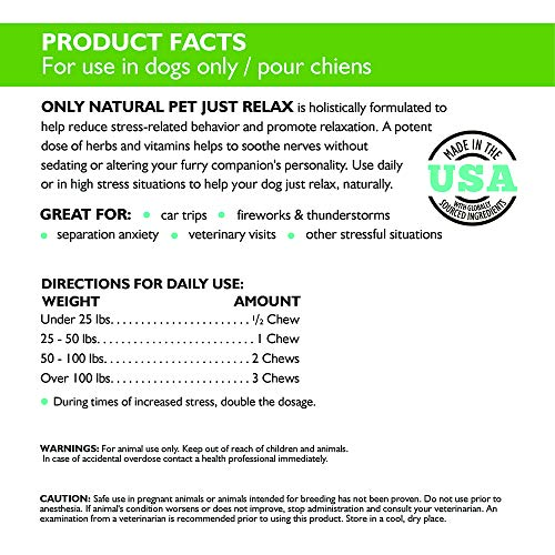 Image of Only Natural Pet Just Relax 60 Soft Chews 8.5 oz Jar