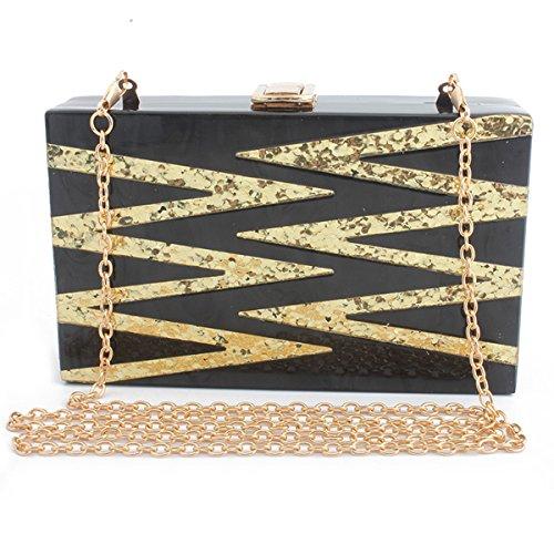 Sequin Clutch Women's bag Evening Black Flada Acrylic Girl's Evening Design Purse FtHq8dxO