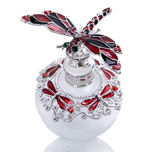 YU FENG 40ml Red Dragonfly Capped Perfume Bottle Fancy Crystals Bejewelled Empty Refillable Glass Bottle