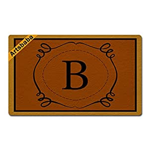 "Artsbaba Personalized Your Text Doormat Letter B Monogram Doormats Monogram Non-Slip Doormat Non-woven Fabric Floor Mat Indoor Entrance Rug Decor Mat 30"" x 18"""