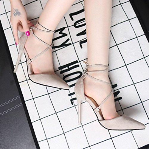 Xianshu Sangle Croisée Chaussures à Talons Hauts Pour Femme Bout Pointu Aiguille Pompes Escarpins Gris nNC5YL6aG